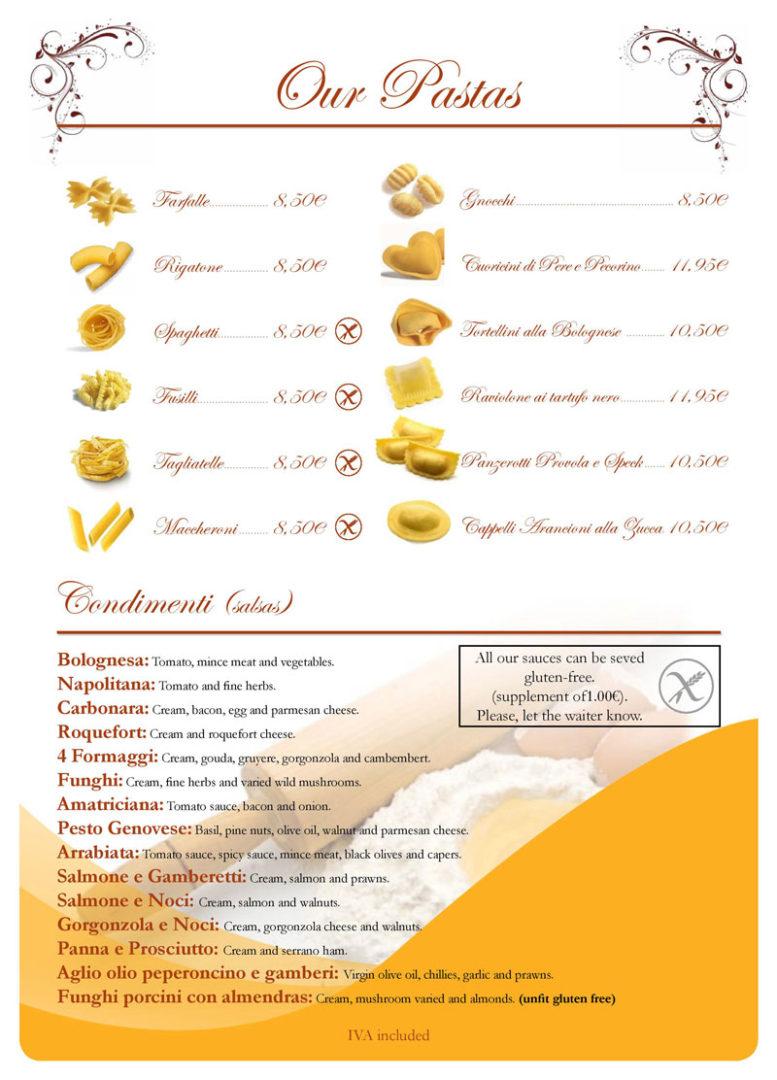 Spaghetti House menu in Vila-seca