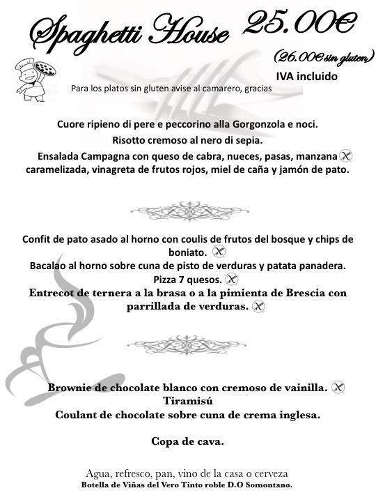 menu especial spaghetti house Vila Seca