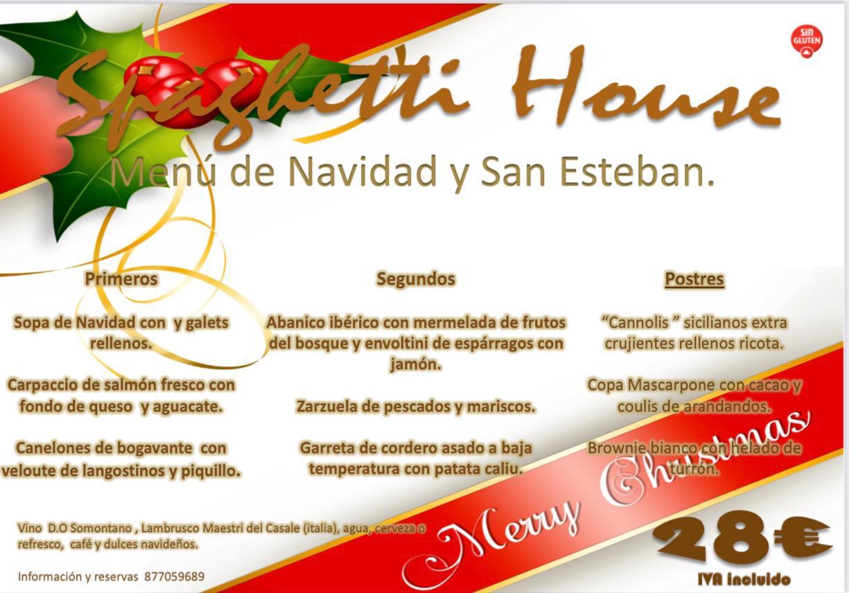menu navidad y san esteban en Vila-seca Spaghetti House
